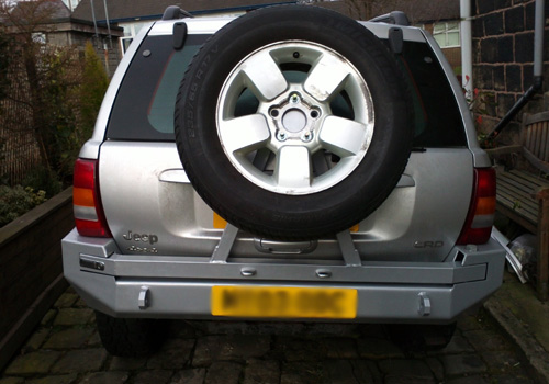 Wj Rear Tire Finished on Jeep Cherokee Hitch